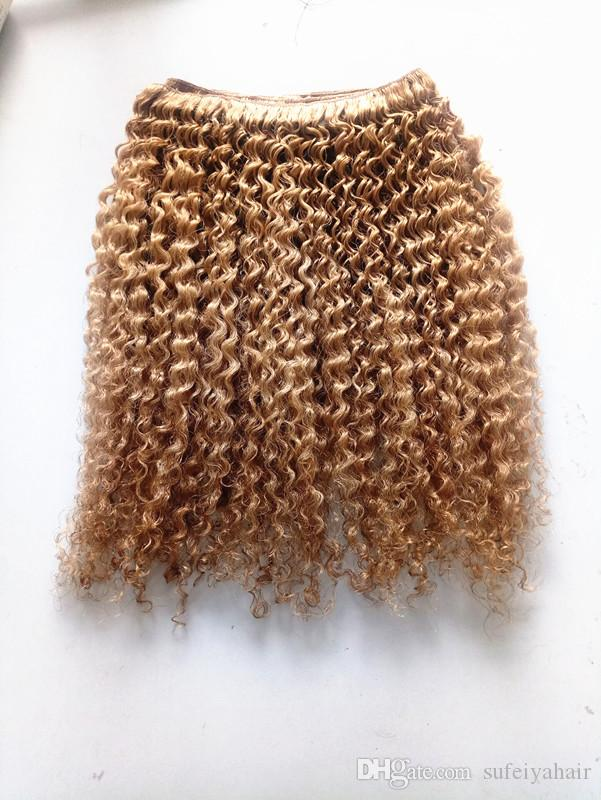 New Arrive Brazilian Human Virgin Remy Brown 27# Hair Kinky Curly Hair Weft Soft Double Drawn Hair Extensions