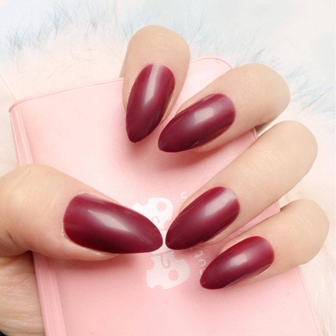 Fashion Pointed Candy Dark Red False Nails Short Size Acrylic Fake Stiletto Tips Full Cover Manicure Tool Artificial Nail From