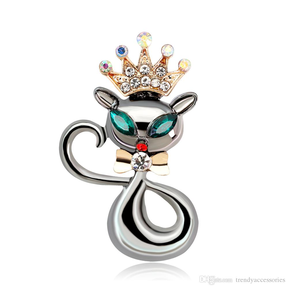 Lovely Crown Cat Brooch & Pin Black Gun Plated Kitten Cute Brooches Accessories for Women