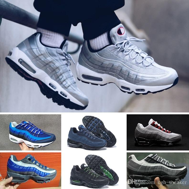 697ada85277 Compre Nike Air Max 95 Designer Shoes 20 º Aniversário MID Sapato 95 S  Sapatilha 95 Preto Branco Homens Do Exército Outono Inverno Almofada De Ar  Tornozelo ...