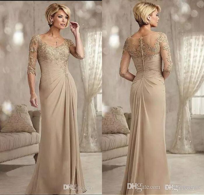 bd6b2544935e7 Satın Al Şampanya Anne Damat Elbiseler Uzun Scoop Boyun Şifon Düğün Konuk  Elbise Yarım Kollu Örgün Abiye Giyim, $127.64 | DHgate.Com'da