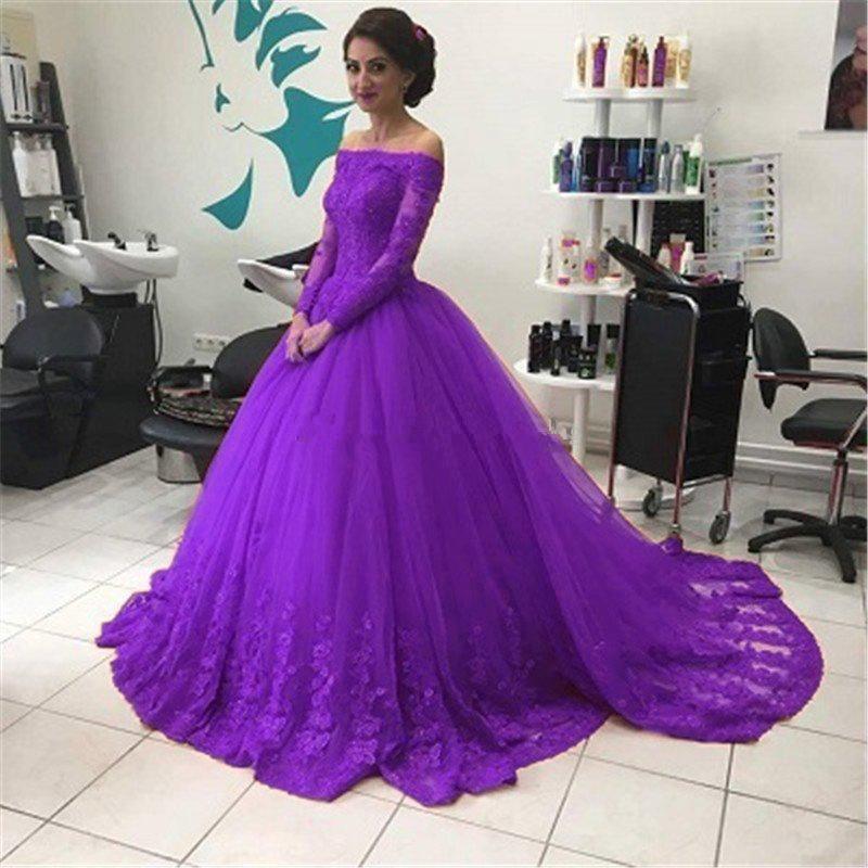 Compre Vestido De Baile Barato Vestido De Fiesta Mangas Largas 2018 ...