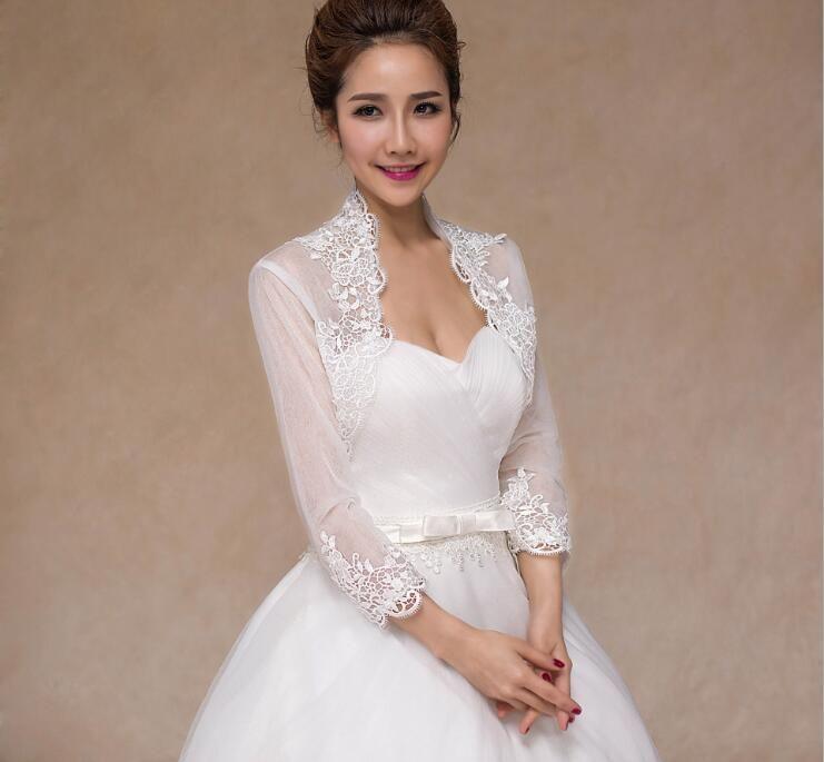 New Bridal Jacket with Long Sleeve Lace Wedding Bolero Plus Size 34 Sleeves Applique Ivory Tulle Wedding Jacket