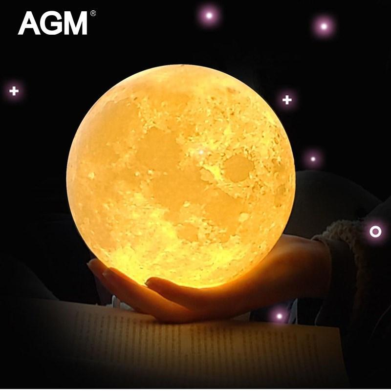 Agm Led Veilleuse 3d Impression Lune Lampe Luna Magic Touch Pleine Lune Portable 2 Couleurs Changement Bébé Cadeau Lumières Pour La Maison Décor