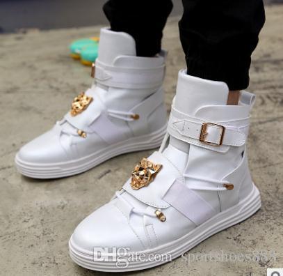 Compre Hombres De La Moda Zapatos Casuales High Top Pu Leather Blanco Negro  Rojo Con Cordones Mens Casual Zapatos Planos Al Aire Libre Male Zapatos Hip  Hop ... d462126753d
