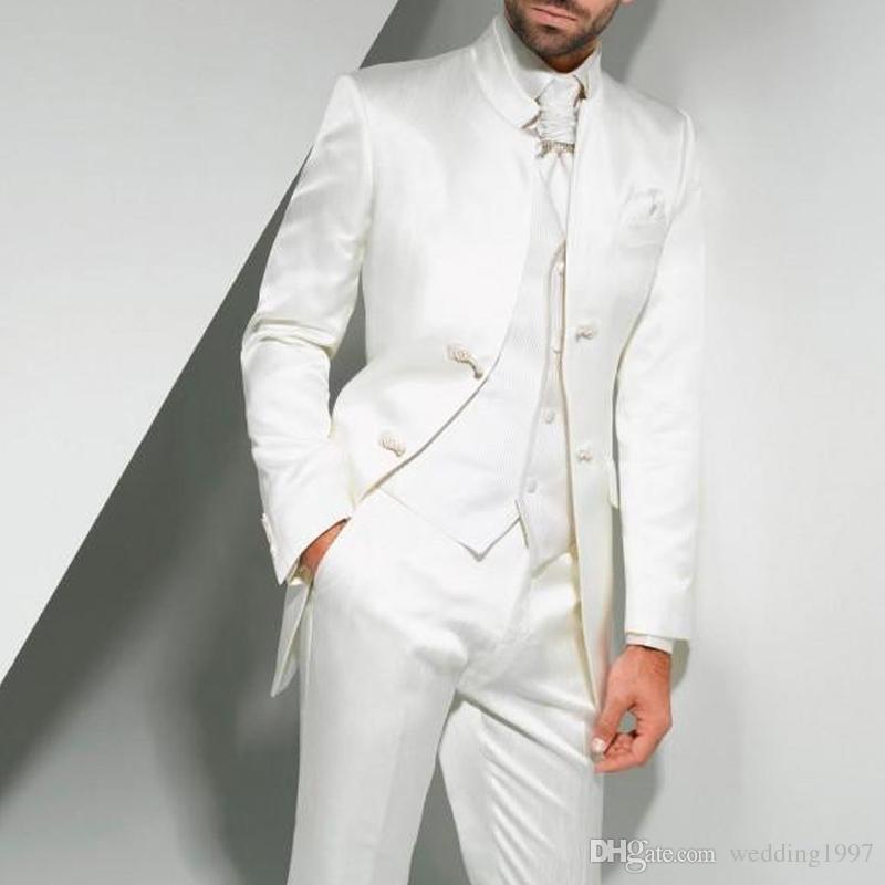 Branco longo Vintage Wedding smoking para peça Noivo Três Custom Made formal Túnica estilo chinês Homens Suits jaqueta + calça + Vest