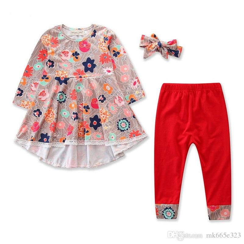 b64a1a157 Baby Girls Clothes Kids Fashion Mixed Color Dress + Red Pants With ...