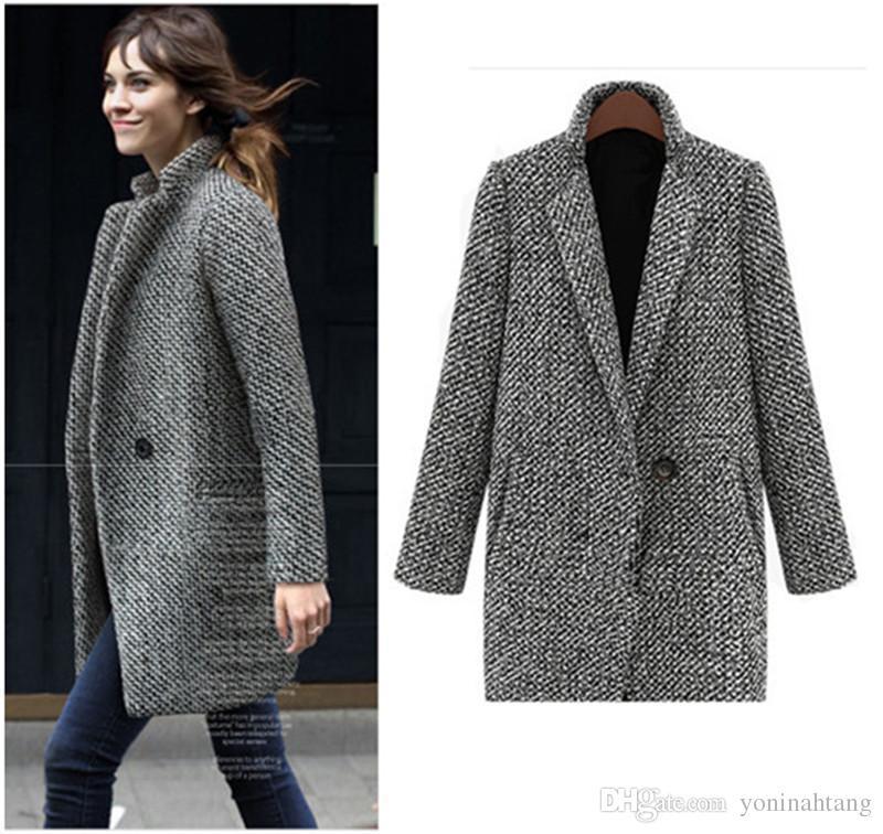98b00db49d6 Women s Wool Coat New Fashion Long Woolen Coat Single Breasted Slim Type  Female Autumn Winter Outwear Coat Jacket Women Wool Coat Fashion Coat  Woolen Coat ...