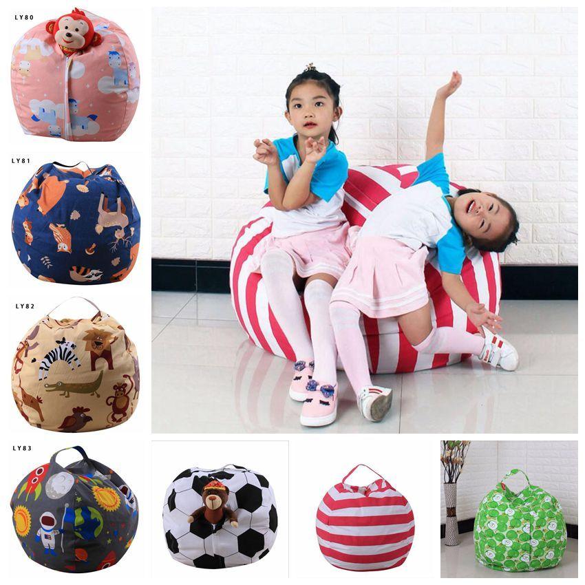 2019 Large Stuffed Animal Storage Beanbag Chairs Canvas Kids Toy