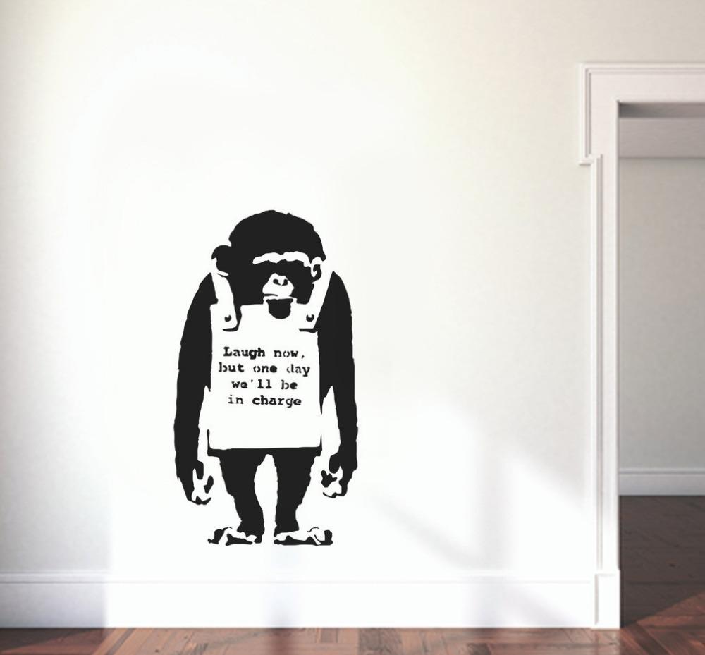 Außergewöhnlich Wand Tattoo Sammlung Von Abnehmbare Banksy Wandtattoo Gorilla Lachen Jetzt Wandaufkleber