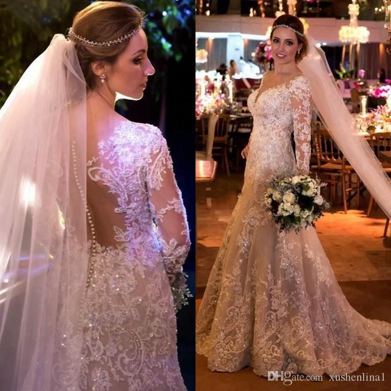 Glitter Wedding Gowns: Arabia Dubai Pearls Beads Wedding Dresses Sparkly Crystal