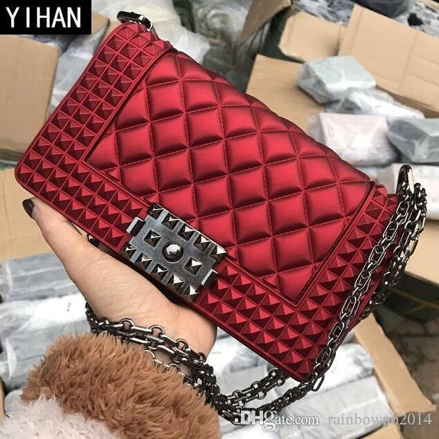 0884dcd678944d Factory Independent Brand Women Bag Summer New Rhombus Grit Jelly Bags  Candy Color PVC Fashion Chain Bag Personalized Rivets Shoulder Bag  Messenger Bags ...
