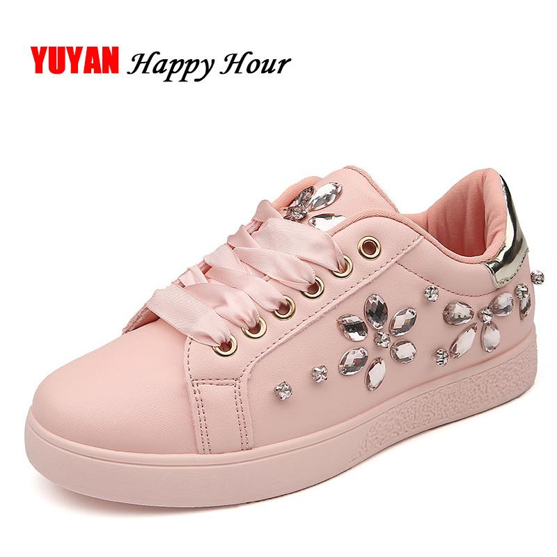 2019 Casual 2018 Fashion Sneakers Women Flat Heel Rhinestone Casual Shoes  Soft Women S Sneakers Ladies Brand Shoes Pink Black White ZH2656 Sperry  Shoes ... d9bddb165857