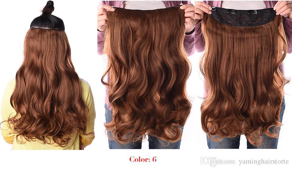 190g 24 inç Sentetik Saç Uzantıları Gerilmiş Dalgalı Klip Isıya Dayanıklı Fiber 4 Klipler tek Parça 17 Renkler Mevcut