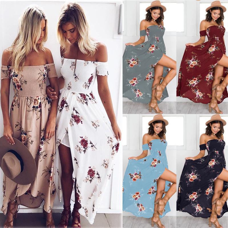 e253a17ef0af Womens Off The Shoulder Floral Long Maxi Dress Summer Beach Evening Party  Boho Slit Split Sundress Brides Dress Summer Evening Dresses From  Erinzhang