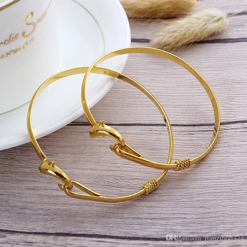 Hot New gift factory price Gold charm bangle Fine Noble mesh Dolphin bracelet fashion jewelry 1834