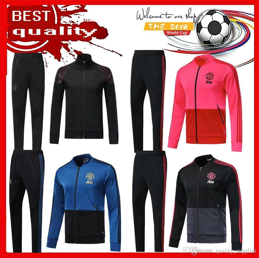 e2bbb0d2d 2018 2019 UTD Tracksuit Survetement Set POGBA Football JACKET Kit Soccer  Chandal 18 19 LUKAKU United Jacket Training Pant Sweater Suit POGBAjacket  Tracksuit ...