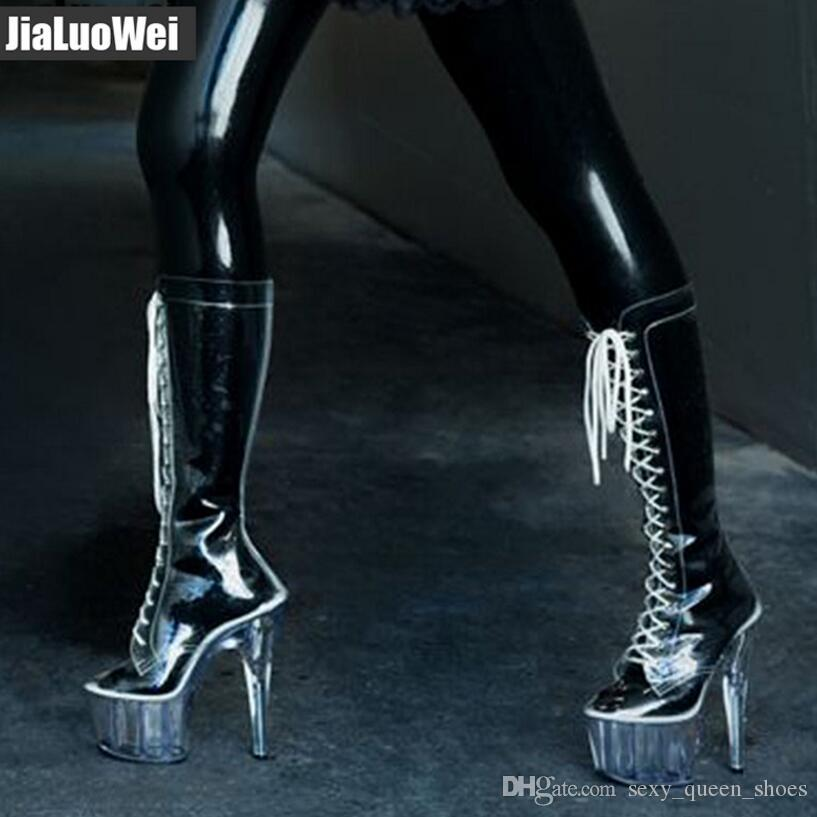 2018 new Women Sexy transparent Knee high boots 15cm heel 4CM platform Pointed Toe clear PVC Cross-tied Man nightclub Dance Shoes party boot