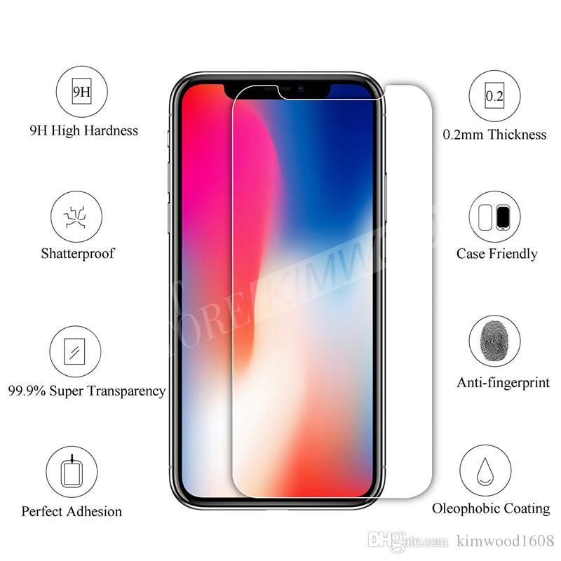 Für NEUES Iphone XR XS maximales Iphone X / 10 8 7 6S plus erstklassiger ausgeglichenes Glasfilm-Schirm-Schutz 9H 2.5D für Galaxie J3 J7 Prime WithPackage