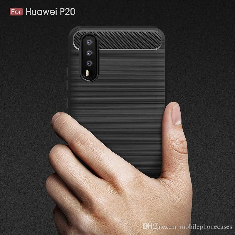 2018 New CellPhone Cases For Huawei P20 P20 Pro Luxury Carbon Fiber heavy duty case for Huawei P20 Lite cover Free DHL shipping