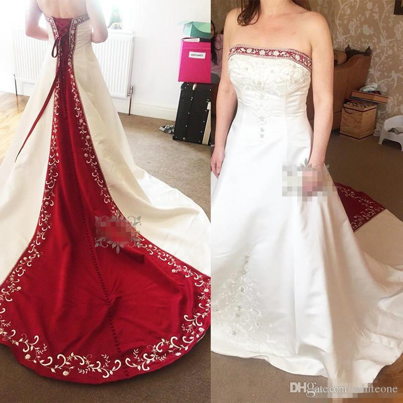 Discount Vintage Red And White Satin A Line Wedding Dresses 2018