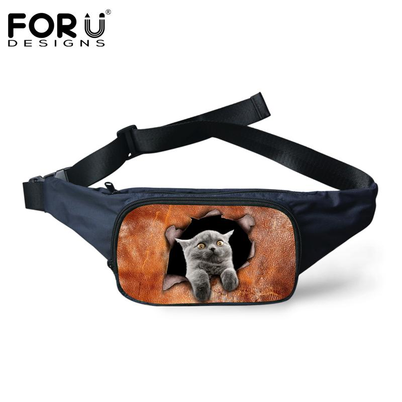 a283acd341d2 FORUDESIGNS 3D Animal Cute Cat Dog Pattern Small Fanny Pack Fashion Casual  Travel Waist Bags for Women Men Belt Bag Bolsa Mujer