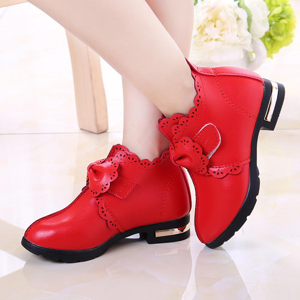 Spring Kids Casual Boots Faux leather Girls Boots formal Girls School Shoes Princess Shoes With Bow D30