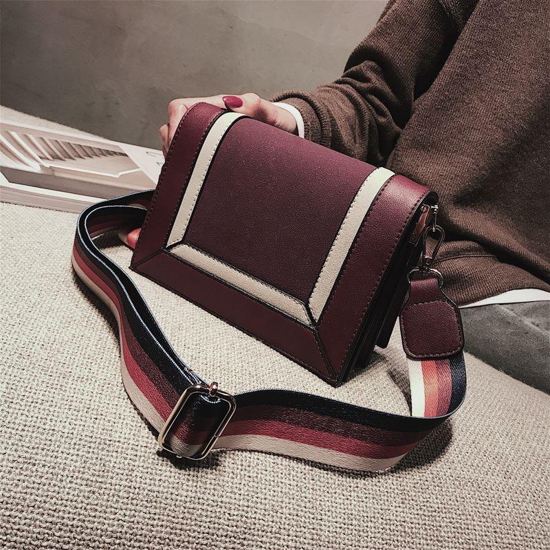 ff159db8ab Designer Stripes Flap Two-tone Bags Leather Shoulder Messenger Crossbody  Bags Female Bags Bolsas Femininas Jinshi Wanggong  11 Flap Bags Two-tone  Bags ...