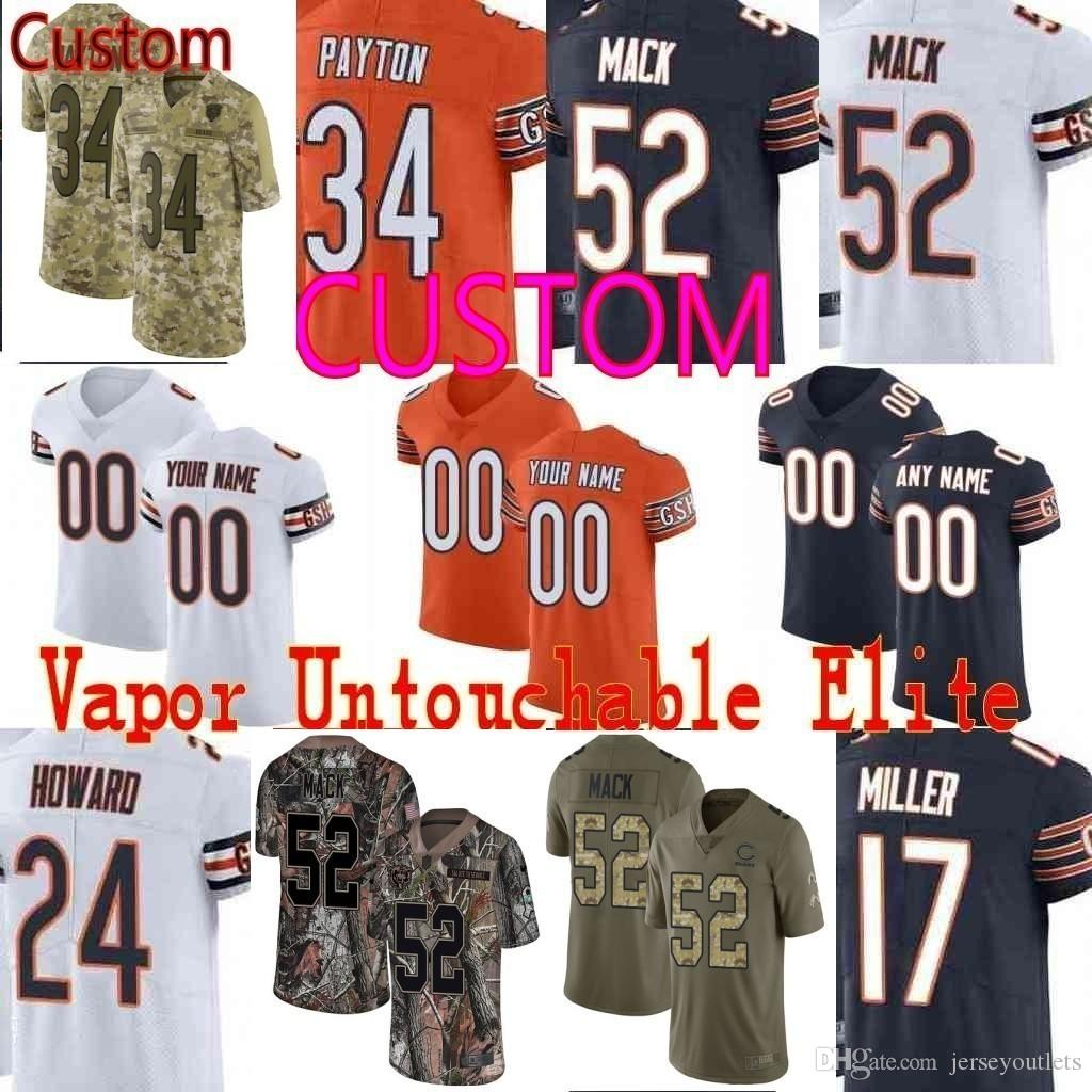 c6f39e2b2ae Custom Men'S Youth Women Chicago 52 Khalil Mack 10 Mitchell Trubisky 34  Walter Payton Camo Salute To Service Bears Elite Limited Jersey 01 UK 2019  From ...