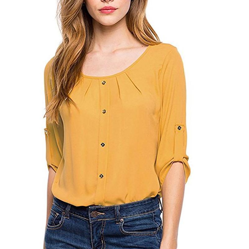 faff31f39ab Compre Primavera Otoño Nuevo 2019 Gasa Blusas Moda Mujer Blusas Camisa De  Las Señoras Ropa Suelta Delgado Casual Blusas Fenale Tops A  24.32 Del  Jamie15 ...