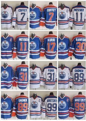 brand new cc6f0 50e22 CCM Hockey Vintage EDMONTON OILERS Jerseys #7 COFFEY #11MESSIER #17 KURRI  #30 RANFORD #31 FUHR #99 GRETZKY White Blue CCM Ice Hockey Jerseys