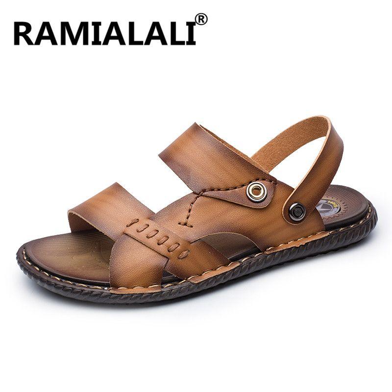 2fbc4cda2d6b Leisure Fashion Mens Sandals Summer Beach Sandals Shoes Leather Men ...