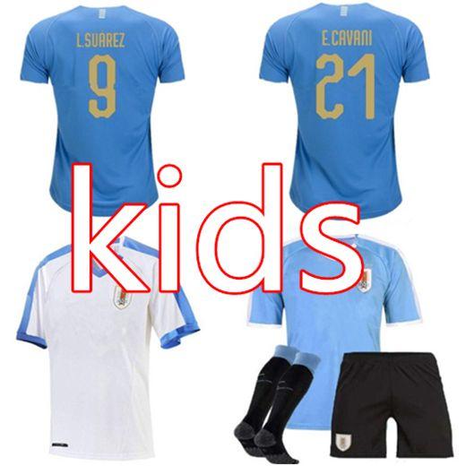 buy online ca4b0 0ddeb Uruguay Kids kit 2019 20 URUGUAY jersey SUAREZ Soccer Jerseys D.GODIN  E.CAVANI URUGUAY football shirt Boys blue home kits