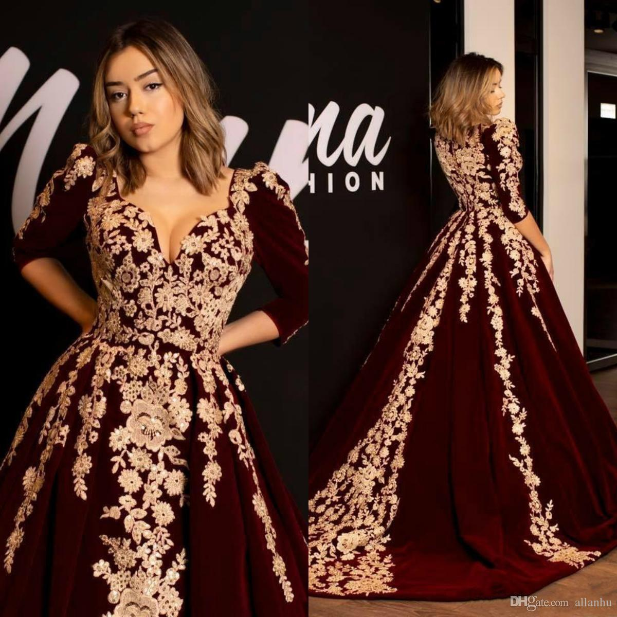 Weddings & Events Black Lace Arabic Evening Dress V Neck Applique Formal Evening Gowns Robe De Soiree 2019 Hot Sale Beadeds Kaftans Prom Dresses