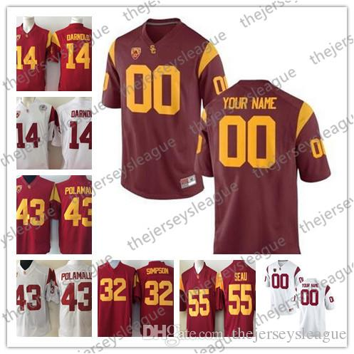 finest selection 31384 37d38 USC Trojans NCAA College Football Jerseys Custom Any Name Any Number White  Red Stitched Personalized #9 JuJu Smith-Schuster 14 Sam Darnold