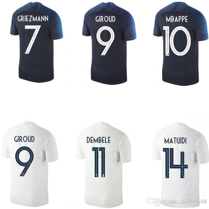 2ab2660b5 2019 National Team 2 Star Soccer Jersey GRIEZMANN MBAPPE KANTE POGBA Home  Away Football Shirts Kids Kits Football Tops Man Woman Soccer Apparel From  ...