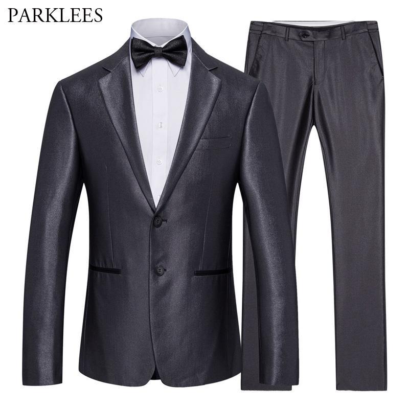 0873e97c6 Compre Negocio Gris 2 Unids Traje Hombres Un Solo Pecho Para Hombre Trajes  De Vestido De Boda Slim Fit Etapa Prom Novios Singer Costume Jacket Pants  6XL A ...