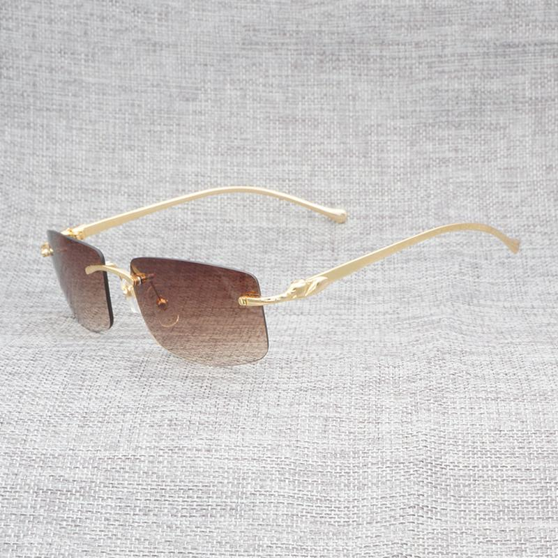 955de1bb8566 Vintage Rimless Leopard Sunglasses Men Clear Glasses Frame Eyewear Square  Shades Goggles For Women Oculos Gafas Accessories Vuarnet Sunglasses  Bifocal ...