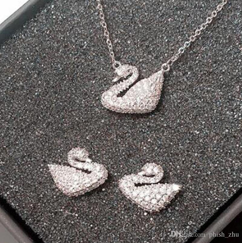 2ad933b604fa4 Austrian Crystal Swarovski Swan Wedding Jewelry Set for Women Necklace  Bracelet Earrings Ring Sets 4pcs/set