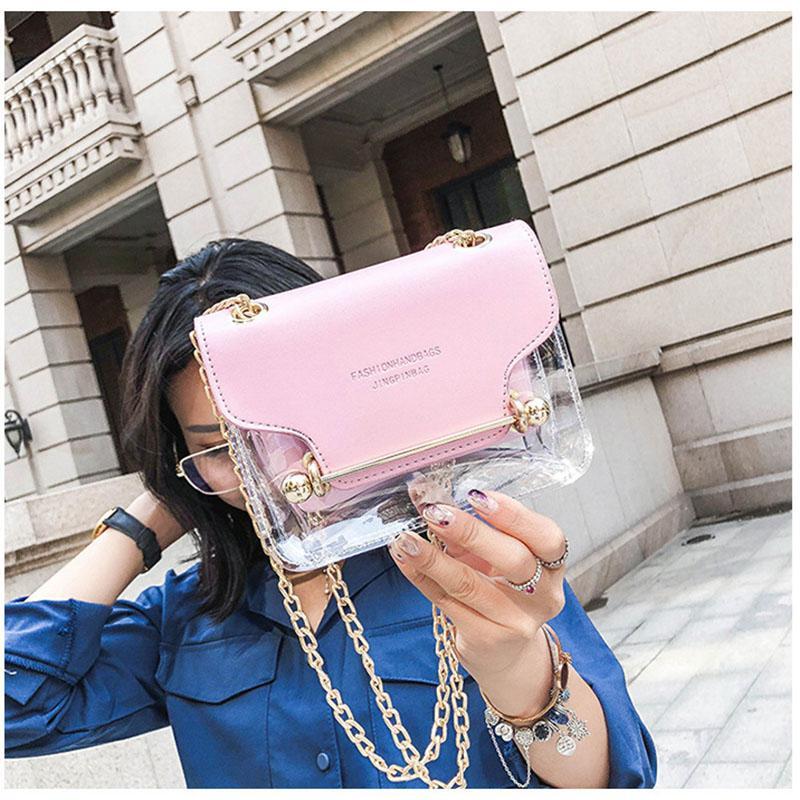 d05d941aa851 Fashion Women Small Square Shoulder Bag New Female Handbags Clear  Transparent PU Brand Design Composite Messenger Bags Square Shoulder Bag  Transparent PU ...