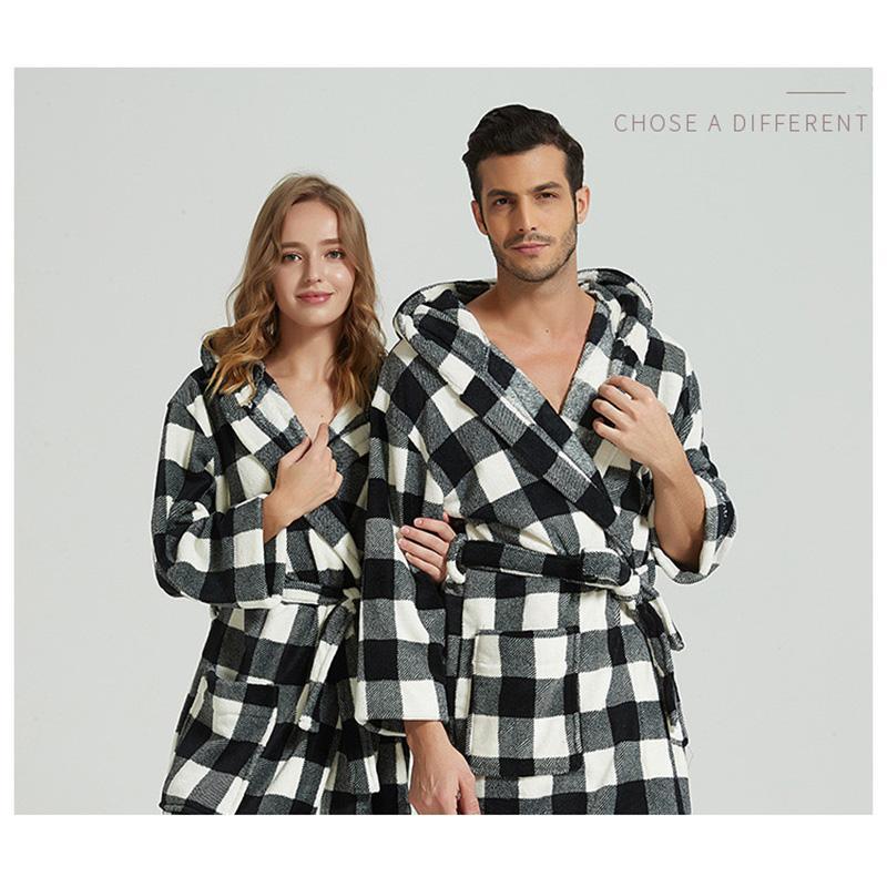 b5723d85545 Men s bathrobe Flannel couple nightgown warm winter man pajamas man robes  satin robe woman fleece plus size nighties