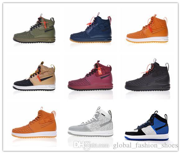 new style 45560 2bb77 Nike Lunar Force 1 DuckBoots 2019 Nuevas Fuerzas De Llegada One Lunar 1  Army Green Negro Amarillo Gum Zapatos Corrientes Para Hombres De Alta  Calidad ...