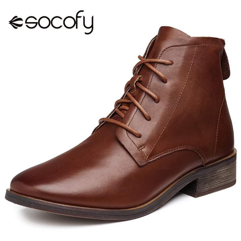 04630d060630 Socofy Pointed Toe Genuine Leather Boots Women Shoes Oxford Ankle Boots  Autumn Winter Ladies Shoes Woman Motorcycle Booties New Hiking Boots Shoes  For Women ...