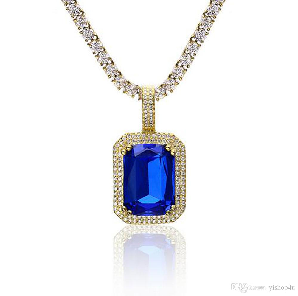 Men Women Hip Hop Copper Cz Bling Faux Lab Ruby Pendant Gold Plated Iced Out Sapphire Rock Rap High Quality Hip Hop Jewelry For Gift