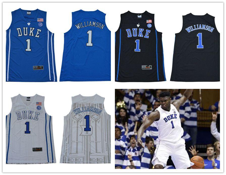 2019 NCAA Duke Blue Devils NCAA Duke 1 Zion Williamson 5 R.J. Barrett White  Blue Black Embroidered College Basketball Jerseys S XXXL From Gatejerseys adb040cc2