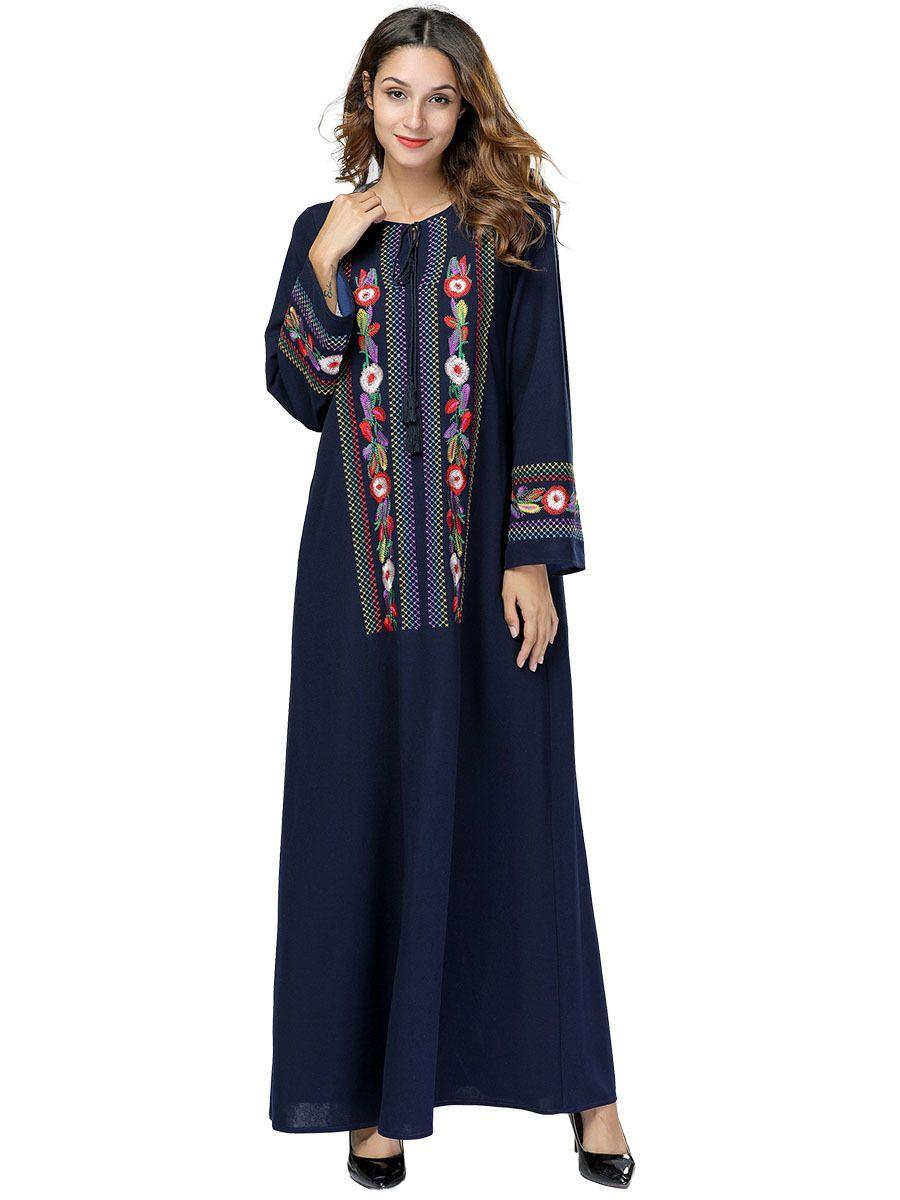 Elegant Embroidery Floral Maxi Dress Geometric Swing Abaya Long Kimono Robe  Gowns Muslim Arab Dubai Middle East Islamic Clothing Ladies Dress  Collection ... ba9d85e6e