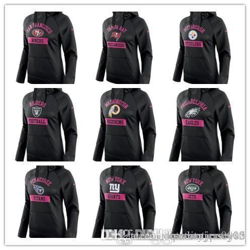 Gijets Raiders Eagles Steelers 49ers Seahawks Buccaneers Titans Redskins Women's Breast Cancer Awareness Circuit Performance Pullover H