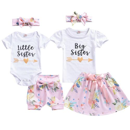 7b52a79c4a566 Summer Sister Matching Outfit Baby Girl Kids Big Sister T-shirt  Skirt/Little Romper Shorts Clothes