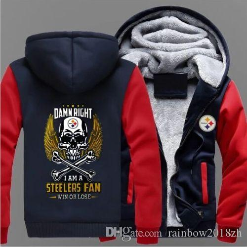 outlet store ebfee bb2b0 Winter Thicken Hoodies Pittsburgh Steelers Team Sweatshirt Lacer Zipper  Jacket coat us size
