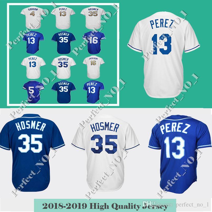 finest selection 67d9e da516 Men's Kansas City 13 Salvador Perez Jersey 4 Alex Gordon 35 Eric Hosmer  Baseball Jersey 16 Bo Jackson Embroidery Top quality jerseys